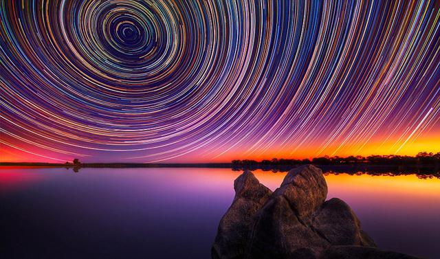 Amazing star trails in Australia